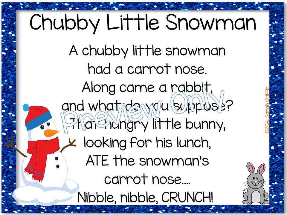 It is a picture of Chubby Little Snowman Poem Printable with rhyming