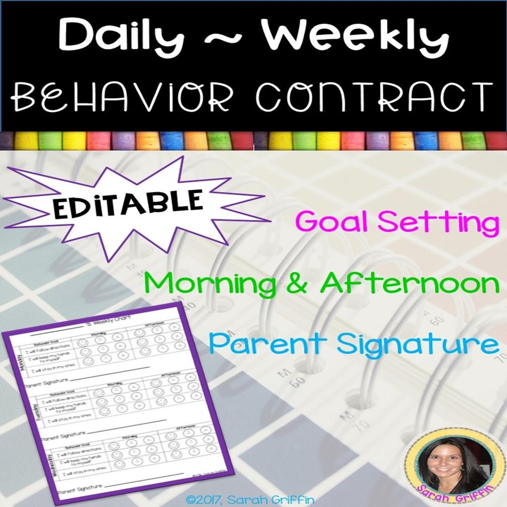 https://www.teacherspayteachers.com/Product/Editable-Behavior-Contract-359604