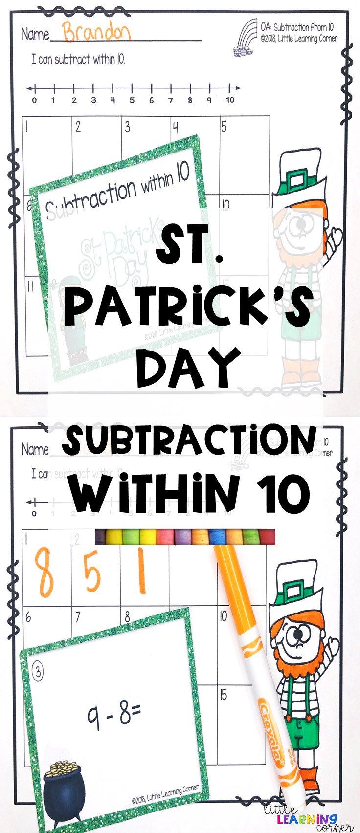 st-patricks-day-activities-subtraction-pins