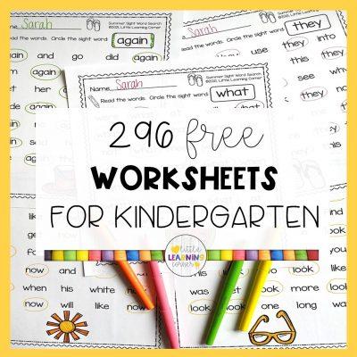 296 Free Worksheets for Kindergarten (PreK-2)