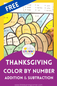 color by number thanksgiving printables addition